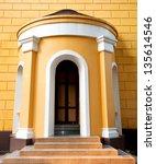 old church door in ayutthaya ... | Shutterstock . vector #135614546