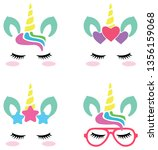 colorful unicorn faces | Shutterstock .eps vector #1356159068