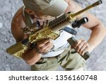 us army soldier changing clip... | Shutterstock . vector #1356160748