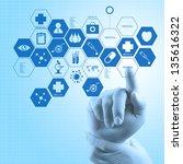 medicine doctor hand working... | Shutterstock . vector #135616322