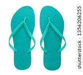 turquoise rubber flip flops... | Shutterstock . vector #1356206255