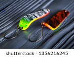 asp fish baits. steel spoon... | Shutterstock . vector #1356216245