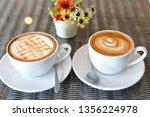 hot caramel macchiato and latte ... | Shutterstock . vector #1356224978