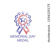 memorial day medal colored icon....