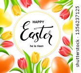 happy easter card with eggs ... | Shutterstock .eps vector #1356237125