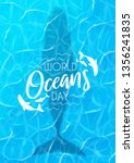 blue poster for world oceans... | Shutterstock .eps vector #1356241835