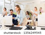 young business woman explaining ... | Shutterstock . vector #1356249545