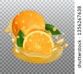 fresh orange and juice splash.... | Shutterstock .eps vector #1356267638