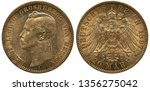 Germany German Hessen golden coin 20 twenty mark 1897, head of Grand Duke Ernst Ludwig left, imperial eagle with shield on chest surrounded by order chain, crown with ribbon above,