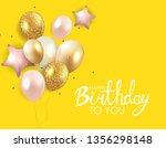 glossy happy birthday balloons... | Shutterstock .eps vector #1356298148