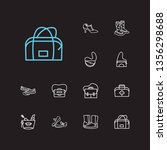 bags icons set. gumboots and...
