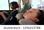 road trip concept. woman in a...   Shutterstock . vector #1356315788