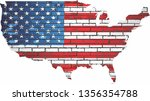 Map Of The Usa With Shiny Flag...