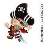 cartoon scene with pirate man... | Shutterstock . vector #1356367265