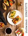 breakfast table with tasty... | Shutterstock . vector #1356370775
