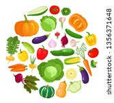 colorful cartoon vegetables... | Shutterstock .eps vector #1356371648