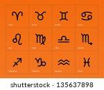 zodiac icons on orange... | Shutterstock .eps vector #135637898