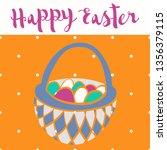 happy easter poster  bascet... | Shutterstock .eps vector #1356379115