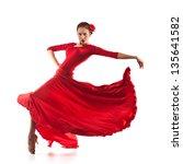 woman traditional dancer... | Shutterstock . vector #135641582