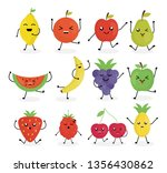 fresh fruits kawaii characters | Shutterstock .eps vector #1356430862