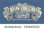 san diego surfing company  ... | Shutterstock .eps vector #135643232