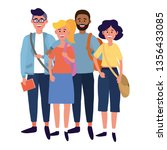 young people friends cartoon | Shutterstock .eps vector #1356433085