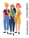 young people friends cartoon | Shutterstock .eps vector #1356438092