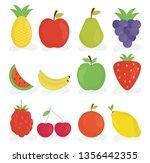 group of fresh fruits | Shutterstock .eps vector #1356442355