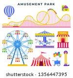 amusement park flat elements ... | Shutterstock .eps vector #1356447395