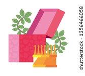 gift box flowers | Shutterstock .eps vector #1356466058