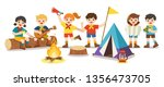 children camping out on white... | Shutterstock .eps vector #1356473705