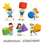 children with simple geometry... | Shutterstock .eps vector #1356474095