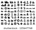 vector balack boat and ship... | Shutterstock .eps vector #135647768