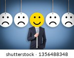unhappy and happy on blue... | Shutterstock . vector #1356488348