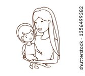 woman with baby avatar character   Shutterstock .eps vector #1356499382
