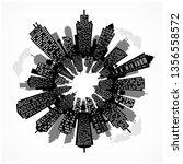 round urban cityscape panorama. ... | Shutterstock .eps vector #1356558572