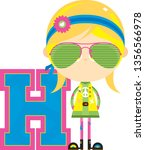 h is for hippie educational... | Shutterstock .eps vector #1356566978