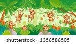 vector set with monkey in... | Shutterstock .eps vector #1356586505