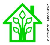 eco house   green home icon  ... | Shutterstock .eps vector #1356638495