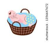cute newborn baby sleeping in... | Shutterstock .eps vector #1356647672