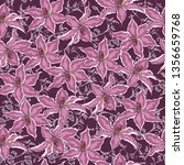 seamless vintage floral pattern ... | Shutterstock .eps vector #1356659768