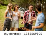 group of young people enjoying... | Shutterstock . vector #1356669902