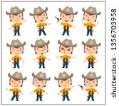 Set of boy cowboy in cartoon style in different poses and emotions isolated on white background