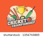 retro style cricket... | Shutterstock .eps vector #1356743885