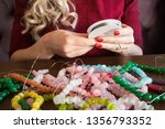 beads of semiprecious stones.... | Shutterstock . vector #1356793352