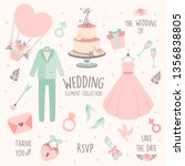hand drawn doodle love wedding... | Shutterstock .eps vector #1356838805