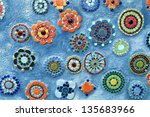 blue background with mosaic... | Shutterstock . vector #135683966
