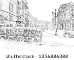 milan. italy. street cafe. hand ... | Shutterstock .eps vector #1356886388