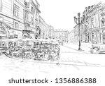 milan. italy. street cafe. hand ... | Shutterstock .eps vector #1356886388