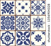 blue portuguese tiles pattern   ... | Shutterstock .eps vector #1356904328